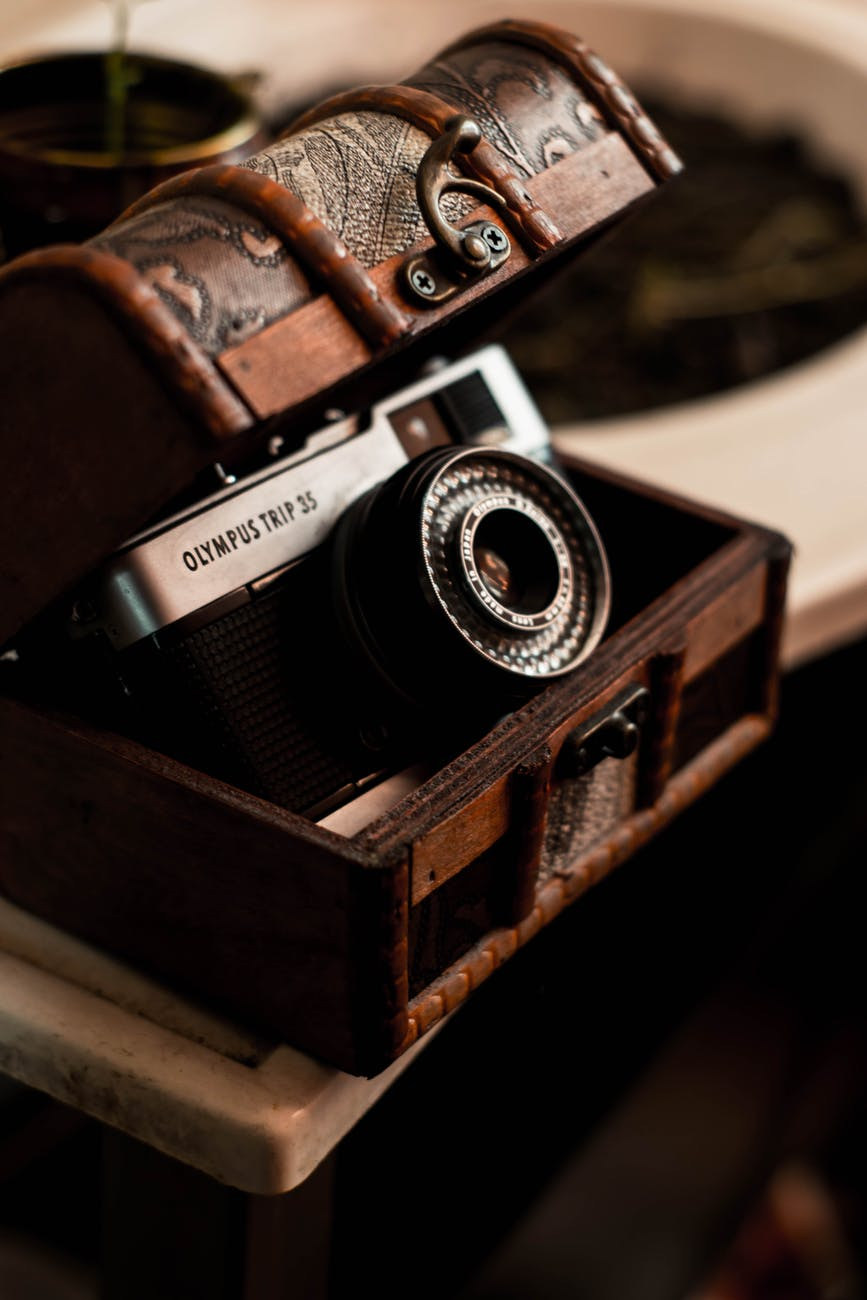 retro photo camera in classic chest
